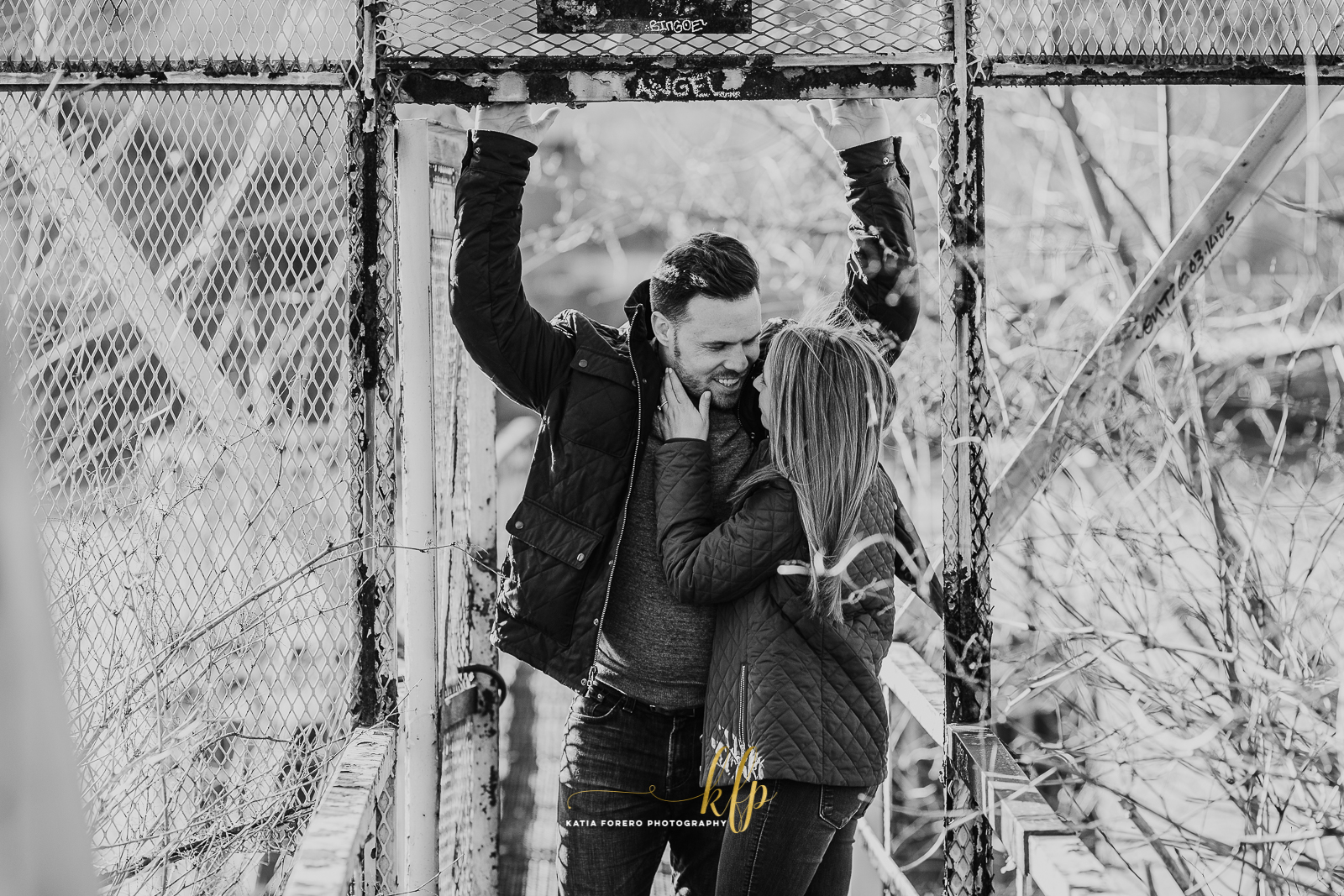 black and white urban engagement sessions