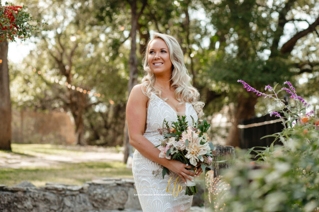 beautiful bride at house on the hill